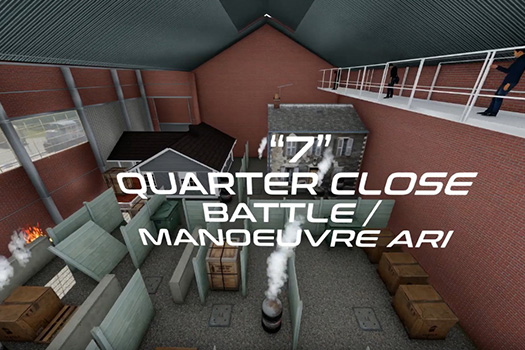 3d modelling of inside the sugar factory; text says 7 close quarter battle