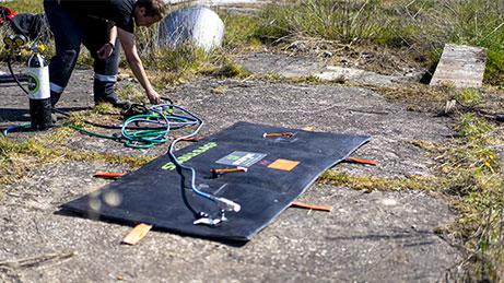 flat stablebag displayed outside, being pumped